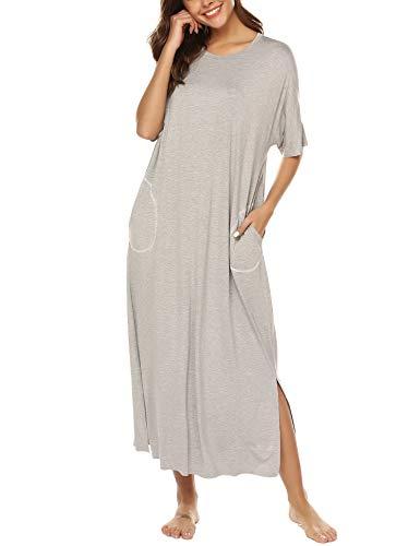 BESDEL Loungewear Langes Nachthemd Frauen Ultra-Soft Nachthemd Ganzkörper-Nachtwäsche mit Tasche Grau L