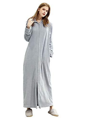 ZAKASA Damen für mit Kapuze Lange Flanell Bademantel Ultra Soft Plüsch Roben Zip-Front-Bademantel mit Taschen -