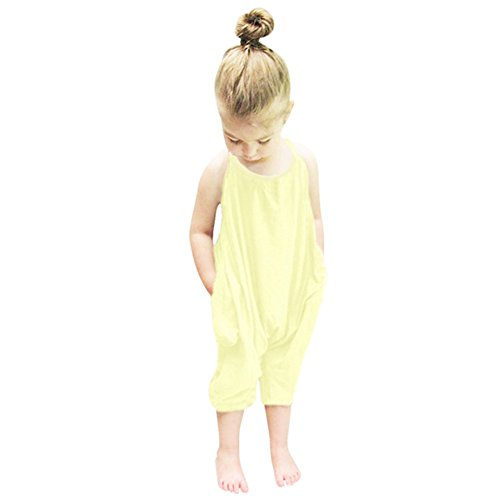 Girl Harem Kostüm - Flyfish Little Girls Kinder Halfter Spielanzug Harem Pants Einteilige Overall Baumwolle (For 4-5Y, B)
