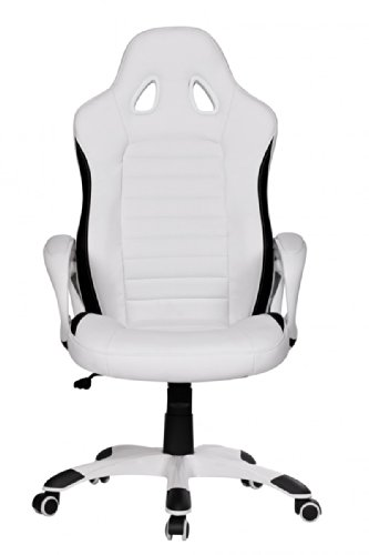 Compare Prices for FineBuy office chair RACING White Gaming executive armchair upholstered with armrest Racer Sport seat swivel chair headrest Race desk chair Gamer Design Modern swivel armchair with tilt function to 120KG leather look on Line
