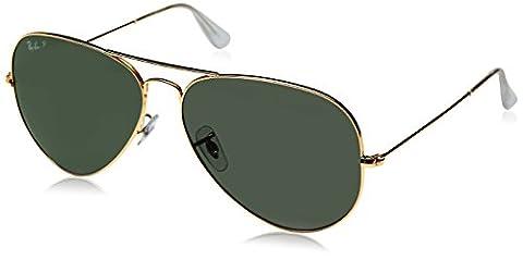 Ray Ban Unisex Sonnenbrille Aviator, Gr. X-Large (Herstellergröße: 62), Gold (Gestell: Gold, Gläser: Polarized Grün Klassisch (Gold Grün Sonnenbrille)