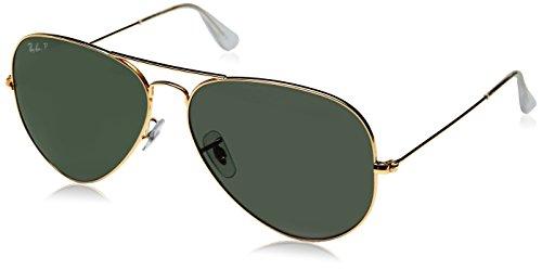 Ray Ban Unisex Sonnenbrille Aviator, (Gestell: Gold, Gläser: Polarized Grün Klassisch 001/58), X-Large (Herstellergröße: 62)