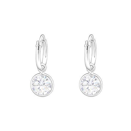 Monkimau Mädchen Ohrringe Creolen aus 925 Sterling Silver echt Silber mit Kristallen