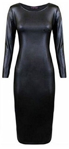 New Women's Ladies Plus Size Celeb Style Wet Look Faux LeatherLook Long Sleeve Midi Dress. UK 8-22