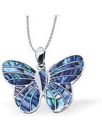 Exquisite natur mit Schmetterling Anhänger Abalone Paua Muschel, in zartem blau und grün mit 45.72 cm fine jewellery Kette