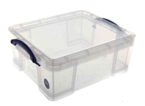 Really Useful Storage Box Plastic Lightweight Robust Stackable 18 Litre W390xD480xH200mm Clear - Ref 18C