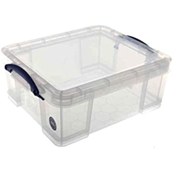 Really Useful Storage Box Plastic Lightweight Robust Stackable 18 Litre W390xD480xH200mm Clear - Ref 18CCB