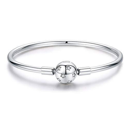 �nger Damen 925 Sterling Silber Emaille Kunsthandwerk Perlen für Pandora Charms Armband Halskette Für Geburtstag Jubiläum Geschenke,B:Bracelet,19cm ()