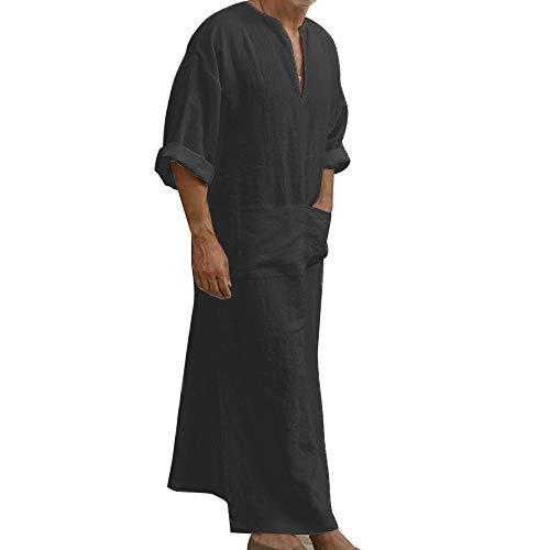 Adisputent Ethnische Roben Herren Baumwolle Leinen Kaftan Robes V-Ausschnitt Arab Nachtwäsche Mit Taschen Indian Muslim Herrenhemd Lange Bademäntel Morgenmäntel