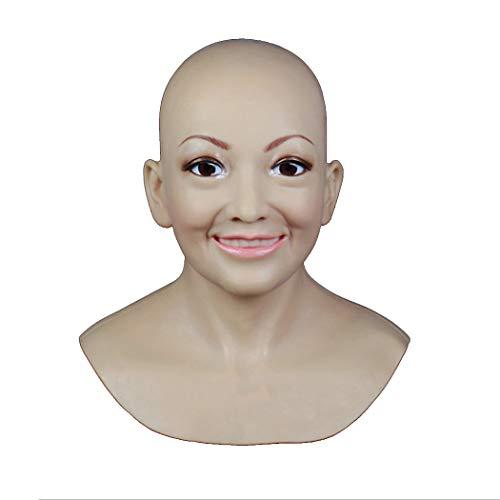Asian Männlich Kostüm - MSFLY Weiche Silikonmaske Weibliche Kopfmasken Handgemachte Lächeln Gesicht Look Verstecken Requisiten Für Crossdresser Transgender Halloween Fotografie Kostüme,Asian