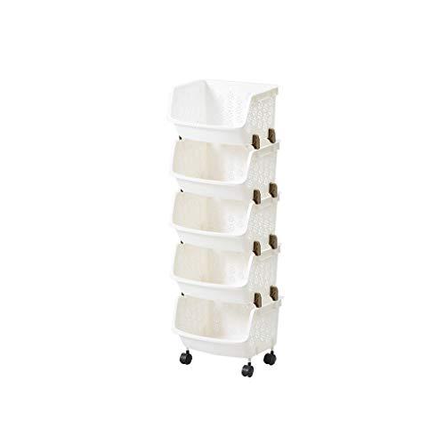 YAN 5-Tier Bad und Küche Moderne stapelbare Speicherorganisator Korb - Kunststoff kleine Mobile Regale - schmaler Raum Organizer - Multifunktions-Standregal mit Rädern - weiß - Küche Pull-out-regale