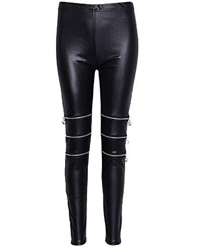 Inception Pro Infinite Leggings para Mujer - Cuero de imitación - Cremalleras - Negro - Oscuro - Gótico - Talla única - Idea de Regalo -