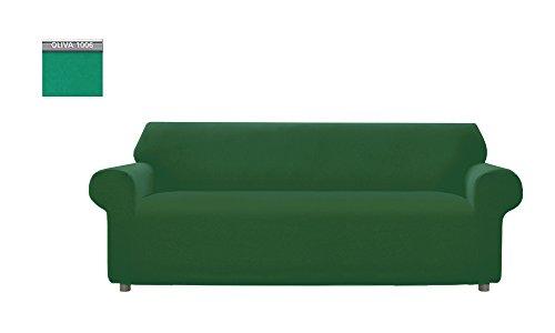 Copridivano Genius Tinta Unita, Per Divano 3 Posti, Colore Verde Oliva 1006