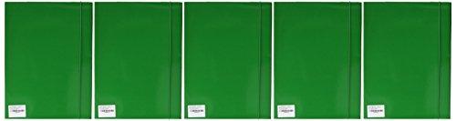 Esselte 390346090 set di 5 cartelle a tre lembi plastificate, 550 gr/mq, a4, verde, capacità 150 fogli