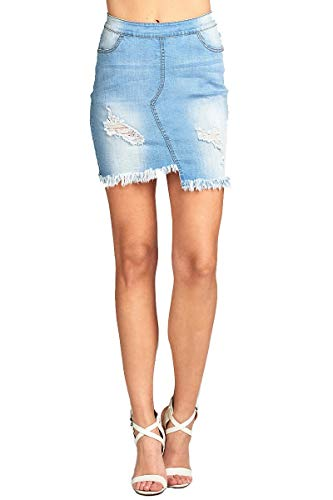 Khanomak Damen Minirock Asymmetrischer Saum Distressed Denim - blau - Klein (Juniors Jeans Größe 2)