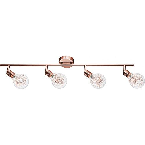 Paris Prix - Plafonnier Spot 4 Têtes Bulbs 80cm Cuivre