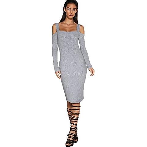 ALAIX manicotto delle donne sexy di modo scollo a V Club vestito irregolare Hem lungo