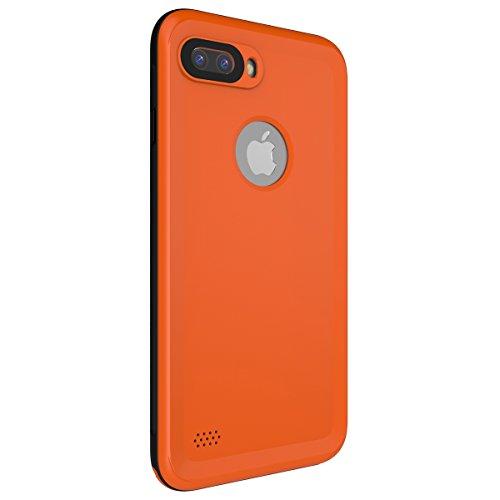 iPhone 7 Plus Wasserdichte Schutzhülle, Moonmini Ultra Slim Thin Wasserdicht Stoßfest Schmutzfester Ganzkörper Unterwasser Schutzhülle mit Button-Lager & Fingerabdruck ID für iPhone 7 Plus - Rot Orange