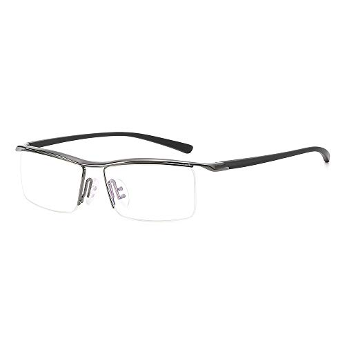 Rahmen Flache Gläser for Männer Plain Glasses Classic Plastic Optical Mirror Glasses Brille (Color : Dark Silver, Size : Kostenlos)