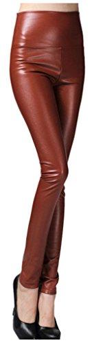 Lotus Instyle dick Hohe Taille Kunstleder Leggings Frauen Lederhose Braun