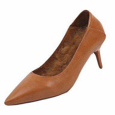SANMULYH Scarpe Donna Pu Inverno Comfort Tacchi Stiletto Heel Punta Per Il Casual Borgogna Marrone Chiaro Nero Marrone chiaro