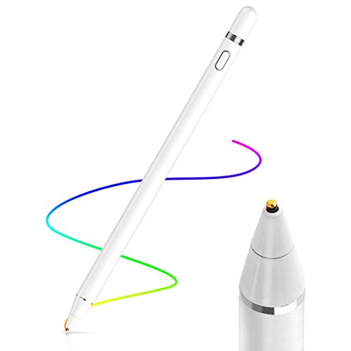 us,Tablet Stift Eingabestift Touchstift,1,45-mm-Spitze, Universal Touchscreen-Eingabestift mit integr. Akku, Passend für Smartphones, Tablets, Apple iPhone/iPad, Weiß ()