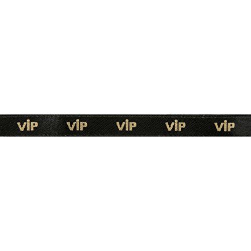 PARTY DISCOUNT NEU Satinband VIP, 10mm x 10m, schwarz, 1 ()