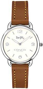 Coach Women's White Dial Leather Band Watch 14502789, Quartz, An