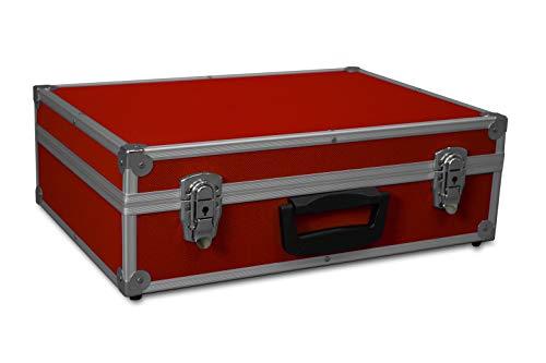GORANDO® Transport-Koffer in rot mit Aluminiumrahmen für Werkzeuge, Kamera, Messgeräte | Schaumstoff-Auskleidung | 10kg belastbar | 440x300x130mm