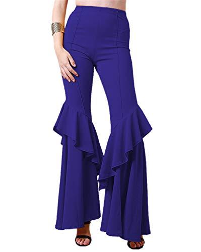 ghose für Damen - Schöne Disco Hose im 70er Jahre Hippie Stil für Damen Schlager Mottoparty oder für Fasching und Karneval,Navy Blau,M ()