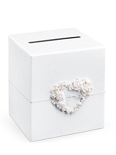 Geld-Urne mit Herz Hochzeitsdeko Weiss
