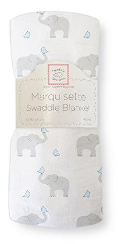 SwaddleDesigns Pucktuch aus Marquisette, Premium Baumwollmusselin, Elefant und Küken, Pastellblau