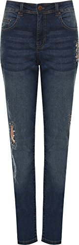 WEARALL - Femmes Grande Taille Affligé Paillette Genou Ripped Toile De Jean Jeans Dames - 44-56 Or
