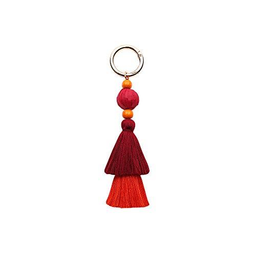 Theshy ciondolo frangia europa e america bohemian handmade accessori per capelli palla femminile creativo portachiavi nappa borsa (rosso)