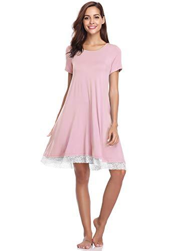 Haijiate pigiama cotone da donna,camicia da notte donna estivo,vestito gonna casual girocollo, manica corta s-xl, nero/blu/grigio/rosa (l, rosa#2)