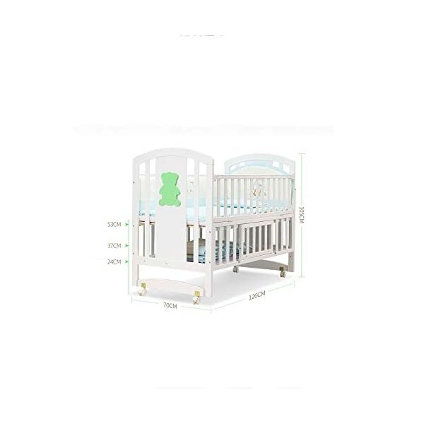 QINYUN Crib Solid Wood Multi-function Baby Cradle Bed Newborn Splicing Big Bed With Roller QINYUN 1. The crib is a safe, comfortable and easy to use bed that enhances the child's newly discovered independence. 2. Storage function - increase the storage space, convenient for the treasure mother to store the baby toy splicing storage board, and it is more convenient to change the table later. 3. It can give the baby enough security and let the baby enjoy a comfortable sleep. You don't have to worry about your baby's sleep quality anymore. 2