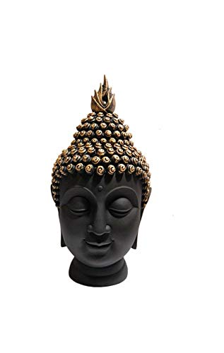 Om Arts Polyresin Buddha Head Figurine (10.5 Cm X 7 Cm X 13 Cm)- Black & Gold