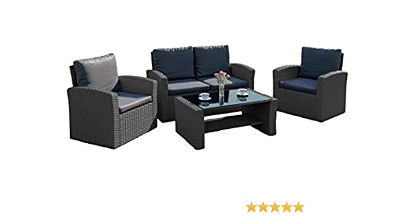 c0e9690b802d New Algarve Rattan Wicker Weave Garden INCLUDES PROTECTIVE COVER Furniture  Patio Conservatory Sofa Set (Solid Dark Grey with Dark Cushions)