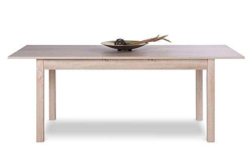 Esstisch in Sonoma Eiche Nachbildung mit 1 Auszugsplatte, ummantelte Stollen als Tischbeine,Maße: B/H/T ca. 137-177/76,5/70 cm