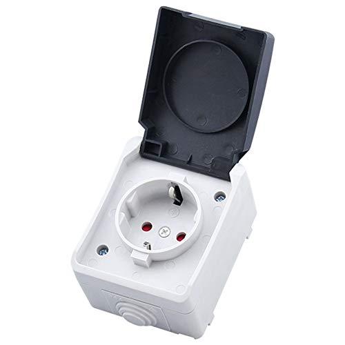 Denret3rgu Wasserdichte IP44-Schutzdeckelsteckdose für Aufputzmontage - Schwarz + Weiß -
