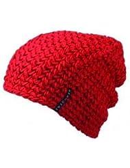 Myrtle Beach Oversize Häkel-Beanie Häkel-Mütze, Farbe:red