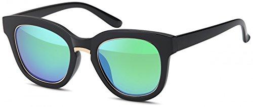 styleBREAKER Nerd Sonnenbrille mit breitem Kunststoff Rahmen und Metall umrandeten Oval Flachgläsern, Kunststoff Bügel, Damen 09020082, Farbe:Gestell Schwarz-Gold/Glas Blau-Grün verspiegelt