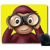 3D Mouse Pad Curious George Monkey Cartoon 3mm Thick/9in x 7in Non-Slip Neoprene Rubber Mousepads