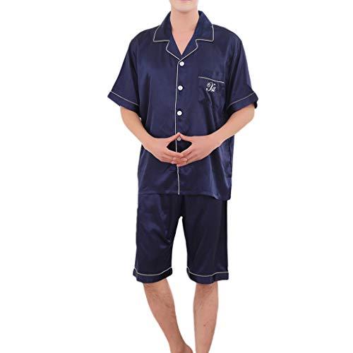 nner Frauen Beiläufige Lose Kurzarm Nachtwäsche Set Komfortable Drehen Hals Knopf Detail Tops Shorts Hause Pyjamas ()