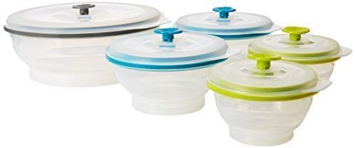 collapse-it Silikon Frischhaltedosen [2] 1 cup clear, [2] 2 cup clear, [1] 6 cup clear Collapse-it Silicone Food Storage Containers, 5-piece Variety Clear Bowl Set - Oven, Microwave and Freezer Safe
