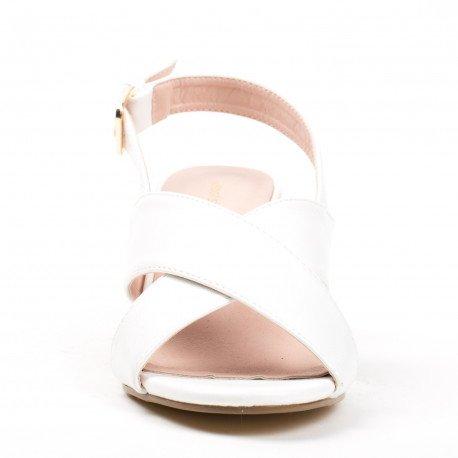 Ideal Shoes - Sandales à talon carré en similicuir avec lanières entrecroisées Laeliana Blanc