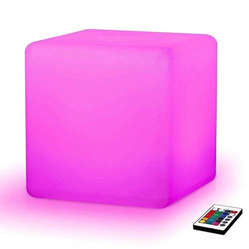 Paddia LED Würfel Licht Hocker USB Fernbedienung Stuhl Sitz Tisch Licht Boden Stimmung Lampe 16 RGB Farbe 4 Helligkeitsänderung Outdoor Garten Bar Möbel Sitz 40cm Beleuchtung Bis zu 8-12 Stunden -