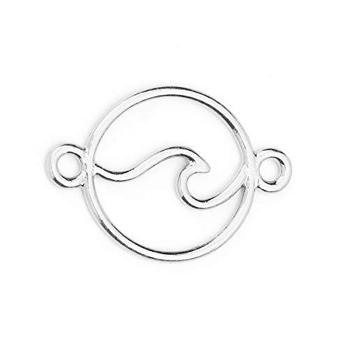 Sadingo Schmuckverbinder Welle Muster, Zwischenstück rund - 10 Stück - 28x20 mm - DIY Schmuck, Makramee, Armbänder,Kette, Farbe:Silber