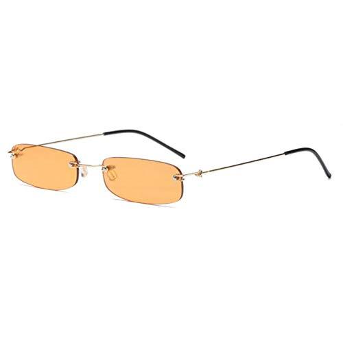 HYUHYU Kleines Rechteck Sonnenbrille Frauen Transparent Orange Gelb Rot Brille Herren Designer Marke Luxury Shades Randlose Sonnenbrille Niedlich
