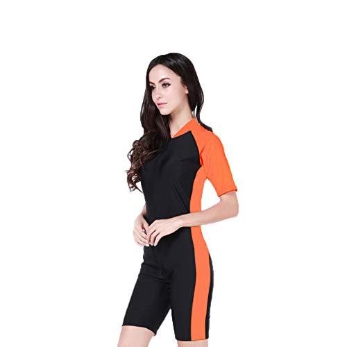 AIni Damen Neoprenanzug,Einteiler Shorty 2mm Neopren Kombinierter Tauchanzug Dünner Neoprenanzug Neu Sexy Sport Wetsuit Schwimmen Surfanzug Surfen Tauchen Sport Badeanzug(XL,Orange)